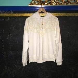 Lucky Brand Embroidered Hoodie white size L